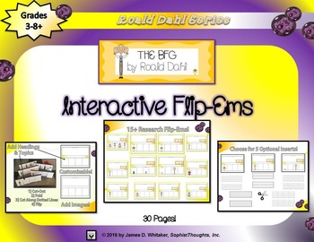 The BFG by Roald Dahl Interactive Character Analysis Flip-Ems
