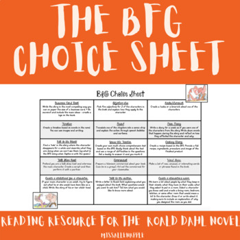 BFG choice street - variety of engaging activities based on the text!
