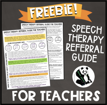 Teacher Handout (Speech Therapy Reference and Red Flags) FREEBIE