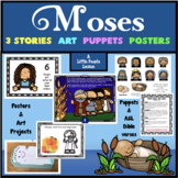 BIBLE ON A BUDGET: MOSES, 3 Stories for Young Children w/ art, drama & posters