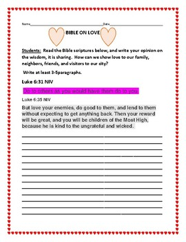 BIBLE WRITING PROMPT#30- LOVE
