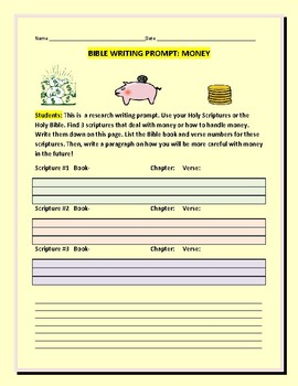 BIBLE WRITING PROMPT: MONEY