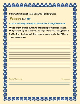 BIBLE WRITING PROMPT: PHILIPPIANS: INNER STRENGTH/ FAITH