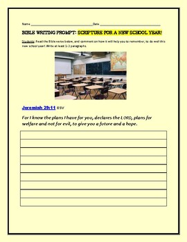 BIBLE WRITING PROMPT: SCRIPTURE FOR A NEW SCHOOL YEAR
