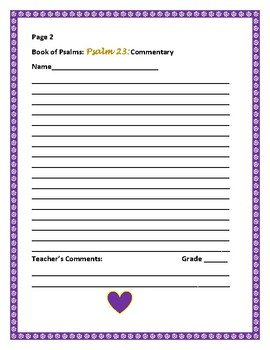 BIBLE WRITING PROMPT: THE BOOK OF PSALMS: PSALM 23:A student commentary