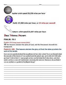 BIBLE WRITING PROMPT: THE WONDERS OF ASTRONOMY