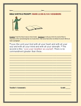 BIBLE WRITING PROMPT: TREATMENT OF NEIGHBORS