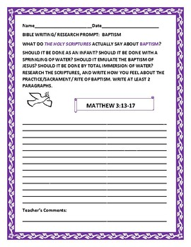 BIBLE WRITING/ RESEARCH PROMPT: BAPTISM