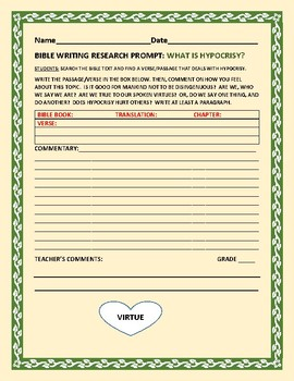 BIBLE WRITING RESEARCH PROMPT: HYPOCRISY