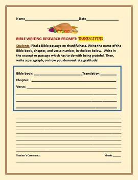 BIBLE WRITING RESEARCH PROMPT: THANKSGIVING