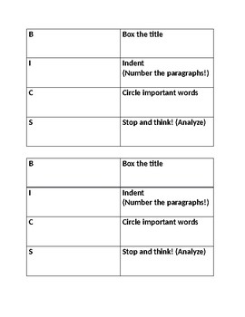 BICS Active Reading Strategy Notecard