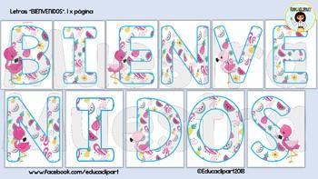 BIENVENIDOS - Flamingos (Spanish Welcome letters)