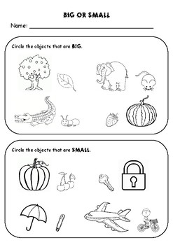 Big And Small Math Worksheet By Rehana S Store Tpt