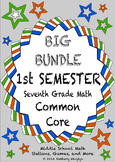 THE BIG BUNDLE Seventh Grade Common Core Math Stations First Semester