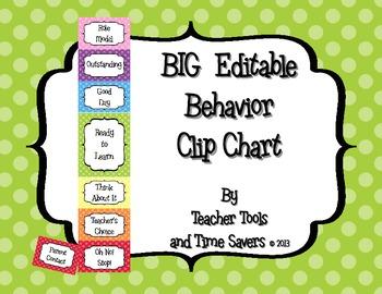 Behavior Clip Chart - Classroom Management - BIGGER Size- Editable! - Polka Dots