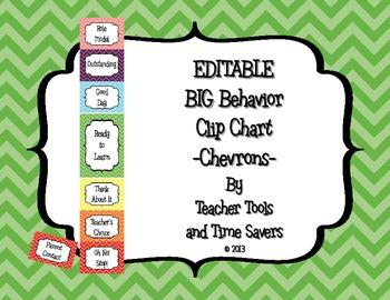 Behavior Clip Chart - Classroom Management - BIGGER Size - Editable! - Chevrons