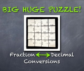 BIG HUGE PUZZLE: Converting Fractions and Decimals Cooperative Fun!