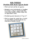 BIG HUGE PUZZLE Square Roots Practice - Great Bulletin Board Too
