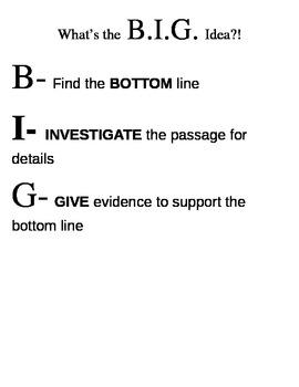 """B.I.G"" Idea-Strategy for Finding Main Idea"