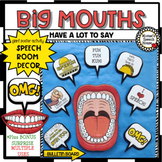 SPEECH THERAPY DECOR: BIG MOUTH POSTER bulletin board speech room decor