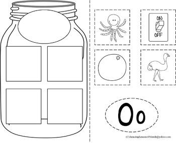BIG Mason Jars Alphabet Cut and Paste (NO PREP)