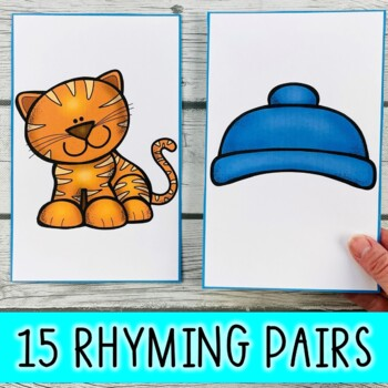 BIG Rhyming Cards in Color and Black & White (15 Rhyming Sets)