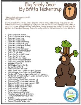 BIG SMELLY BEAR BOOK UNIT AND TEACHER PUPPET STICKS