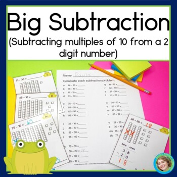 Subtracting multiples of 10 from a 2 digit number, BIG subtraction