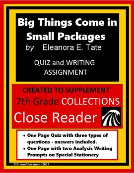 BIG THINGS COME IN SMALL PACKAGES Quiz and Writing Prompts, & Activity