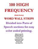 100 High Frequency Spanish Word Wall Strips : BIG (half sheet)