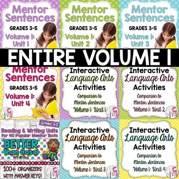 BIGGEST & BEST Mentor Sentence Bundle Volume 1 for Grades 3-5- 1 Entire Year!