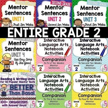 BIGGEST & BEST Mentor Sentence Bundle for SECOND GRADE- 1 Entire Year!