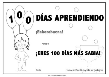 "BILINGUAL ""100 Days of School"" certificate. FREEBIE"