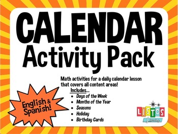 CALENDAR Activity Pack - English & Spanish!