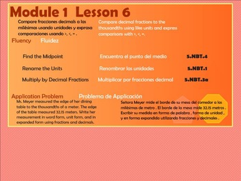BILINGUAL EngageNY Mathematics Fifth Grade Module 1 Lesson 6
