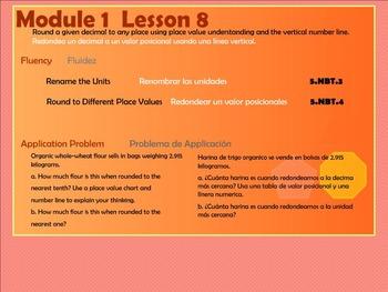 BILINGUAL EngageNY Mathematics Fifth Grade Module 1 Lesson 8