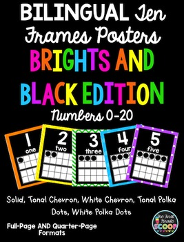 BILINGUAL English-Spanish Ten Frames Posters 0-20 (Black and Brights Edition)