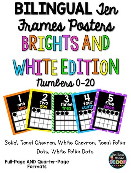BILINGUAL English-Spanish Ten Frames Posters 0-20 (White and Brights Edition)