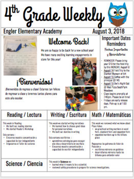 BILINGUAL Google Slide Weekly / Monthly Newsletter
