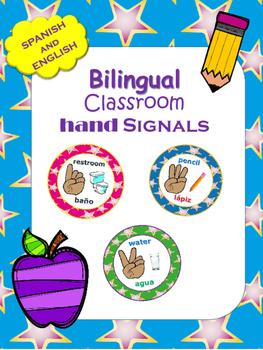 BILINGUAL Hand Signal Posters BRIGHT COLORS