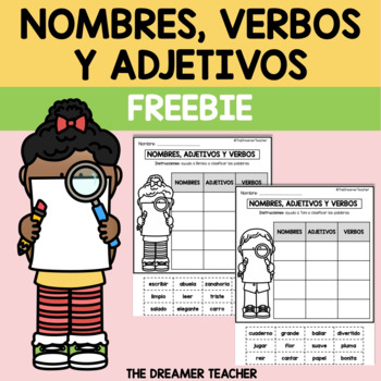 """BILINGUAL """"Nouns, adjectives and verbs"""" activity. FREEBIE with TEKS"""