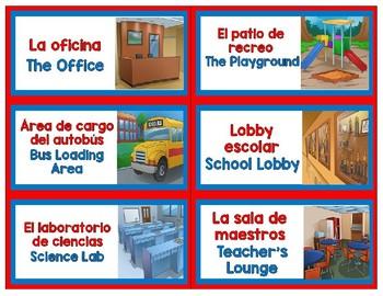 BILINGUAL SCHOOL AREA LABELS-EDITABLE