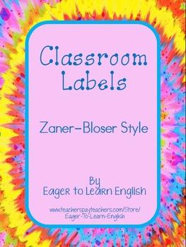 BILINGUAL SET: Classroom Labels - Zaner-Bloser style