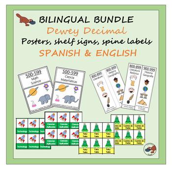 BILINGUAL SPANISH Dewey Decimal Posters, Shelf Signs & Spine Labels BUNDLE