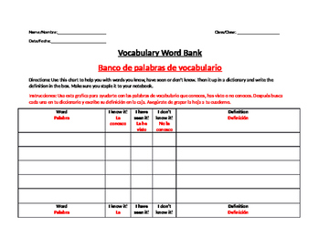 BILINGUAL VOCABULARY BANK