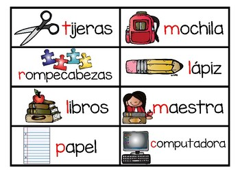 BILINGUAL back to school vocabulary cards