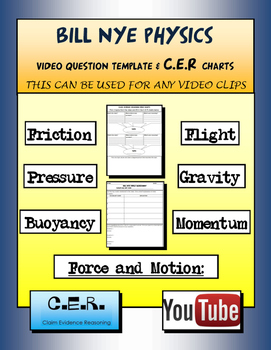 BILL NYE Physics Video Template and Claim Evidence Reasoning (CER) Charts