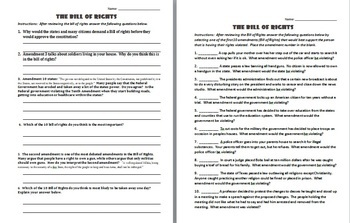 BILL OF RIGHTS:  3 DIFFERENT LESSONS