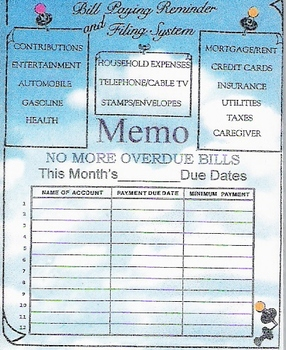 BILL PAYING REMINDER and FILING SYSTEM