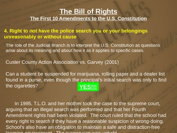 BILL of RIGHTS: images, videos, graphic organizers & case studies (Jr. High)